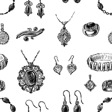 Seamless background of various jewelry Ilustrace