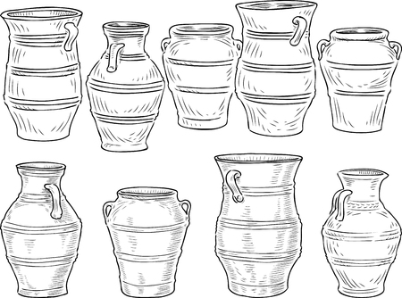 A set of the various greek clay pots