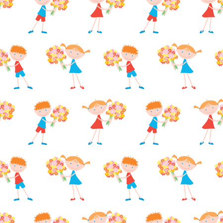 Pattern of cheerful kids with bouquets