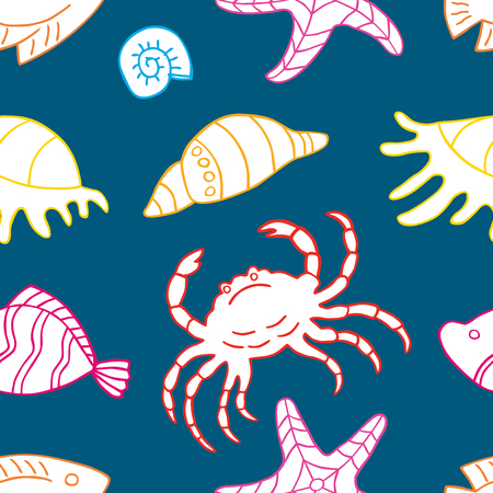 Pattern of the sea creatures Vectores