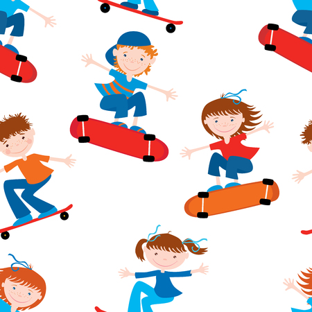 Background of cheerful kids on skateboards Иллюстрация