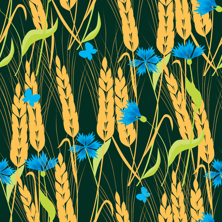 Background of cornflowers and ripe wheat
