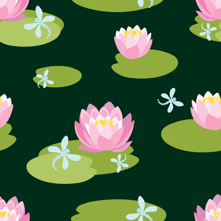 Seamless pattern of water lilies in a lake