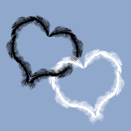 Vector image of feathers in the form of two hearts