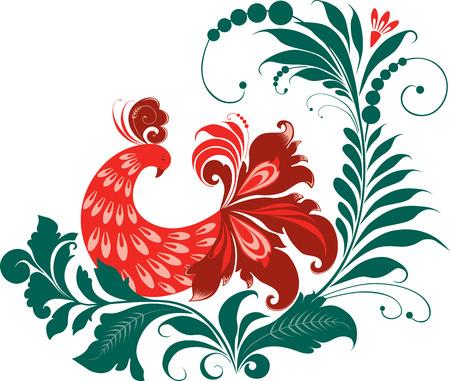 Fabulous bird on a decorative flower