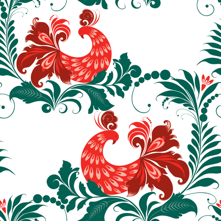 Pattern of the fabulous birds on the decorative branches