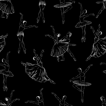 Vector background of the ballet dancers sketches