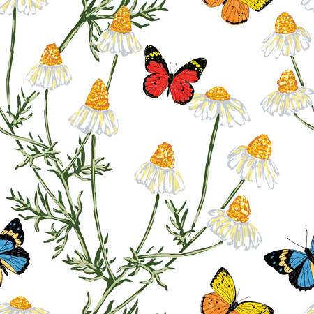 Seamless background of chamomiles and butterflies