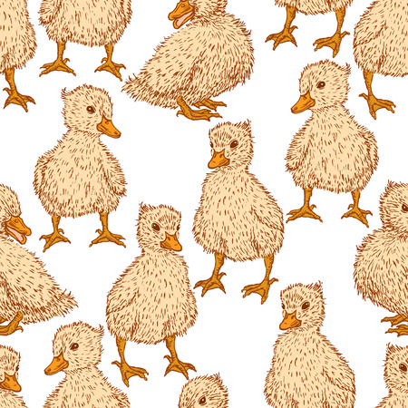 Seamless background of small ducklings
