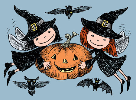Vector image of merry elves with Halloween pumpkin