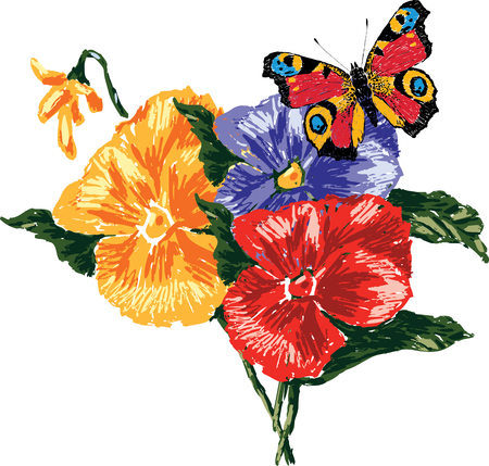 Vector image of pansies and butterfly. All objects isolated.