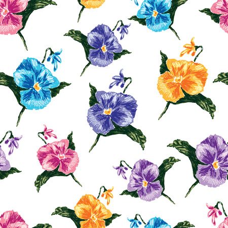 Vector pattern of colorful pansies