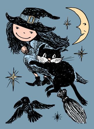 Une sorcière avec son chat vole sur un manche à balai la nuit d'Halloween