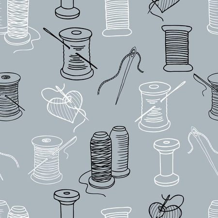 Seamless background of spools of threads and needles