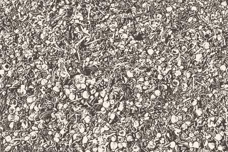 Vector abstract texture of seashells, seaweed and pebbles