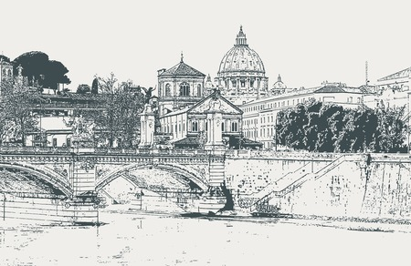 Vector image of the city of Rome with a view of the Tiber River and the Cathedral of St. Paul