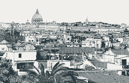 Vector image of the city of Rome, the capital of Italy