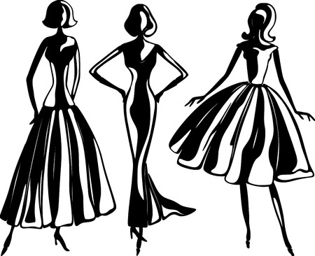 Female silhouettes in evening dresses