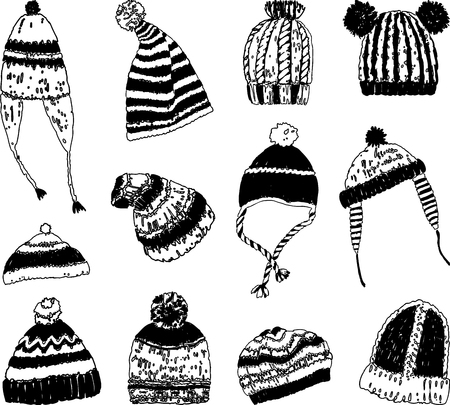 Set of knitted winter caps