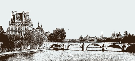 Vector image of a Seine in Paris, France