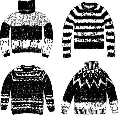 A set of warm knitted sweaters Illustration