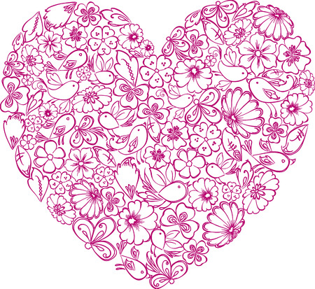 Decorative heart of flowers and birds