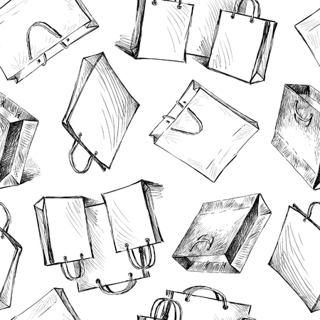 Pattern of sketches of shopping bags