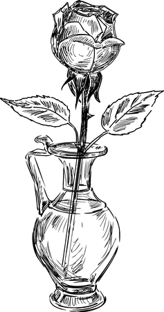 Sketch of a rose in a glass vase