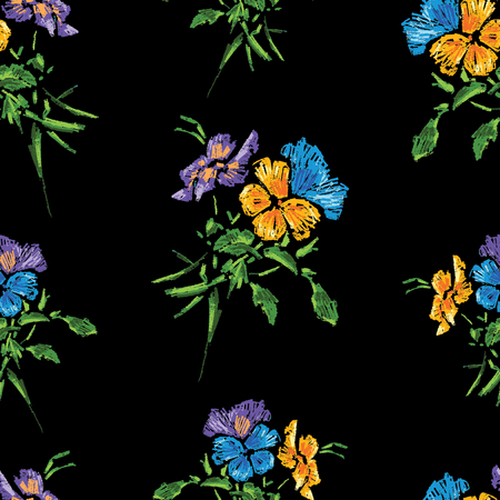 Seamless pattern of pansies bunches
