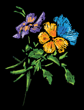 Vector image of a bouquet of pansies