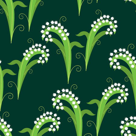 Seamless background of decorative lilies of valey Illusztráció