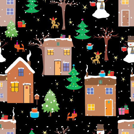 Seamless pattern of cartoon houses in christmas time