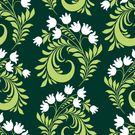 Seamless pattern of decorative lilies Vecteurs