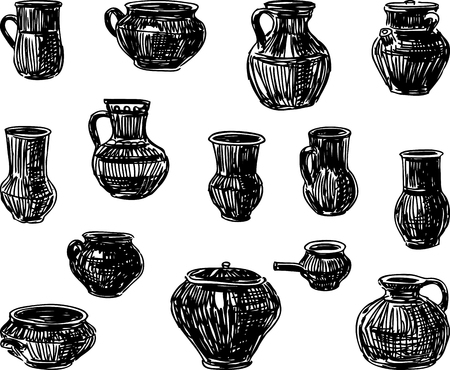 A set of sketches of clayware Foto de archivo - 117033296