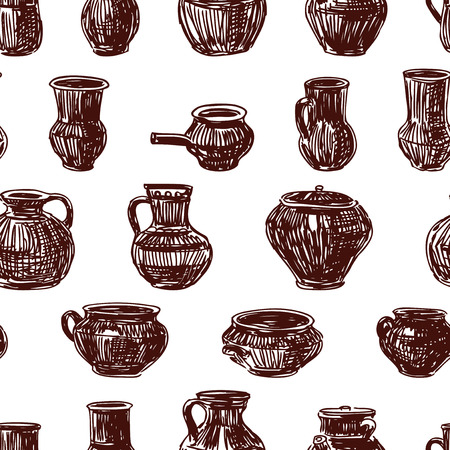 Seamless pattern of clayware sketches Foto de archivo - 117033306