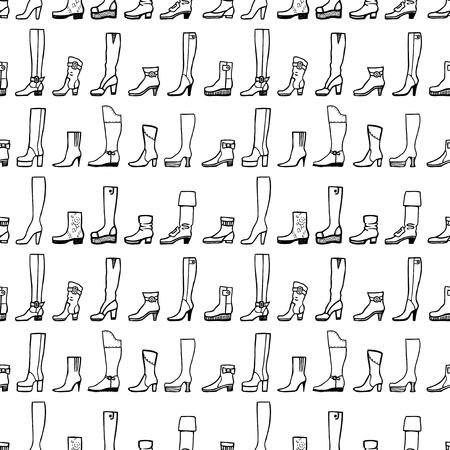 Seamless pattern of various female footwear