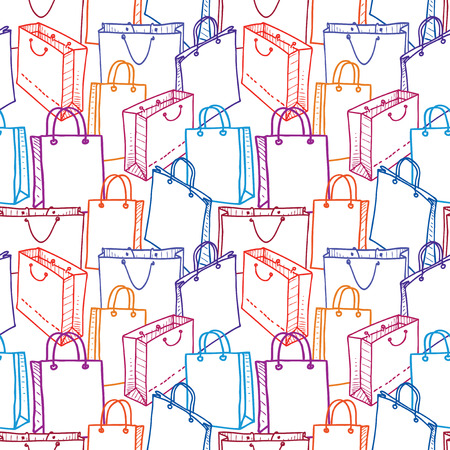 Seamless pattern of various shopping bags