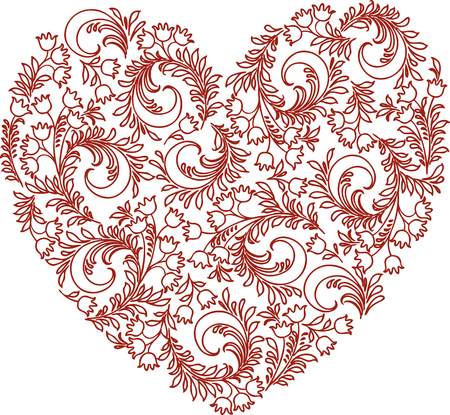 Vector image of decorative floral heart Illustration