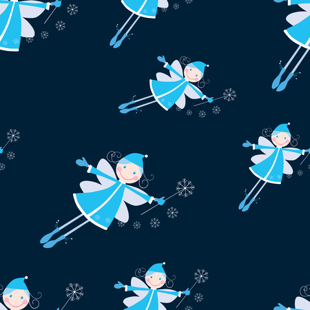 Seamless pattern of flying cheerful elves Illusztráció
