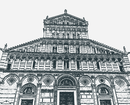 Vector illustration of the facade of the Cathedral of Pisa in the Square of Miracles, Tuscany, Italy  イラスト・ベクター素材