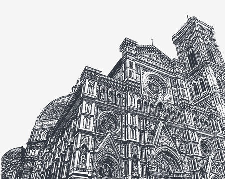 Fragments of the Cathedral of Santa Maria del Fiore and the Giotto bell tower in Florence, Tuscany, Italy