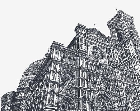 Frammenti della Cattedrale di Santa Maria del Fiore e del campanile di Giotto a Firenze, Toscana, Italy