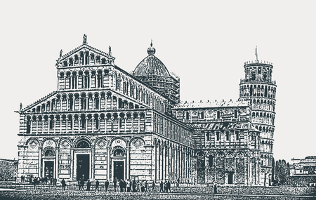 Vector image of the architectural ensemble of the Pisa Cathedral and the Leaning Tower in Pisa, Tuscany, Italy  イラスト・ベクター素材