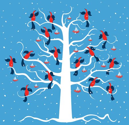 Vector image of the birds on a frozen tree