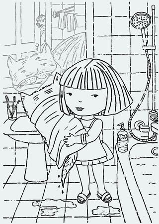 Vector drawing of a little girl with her cat in a bathroom