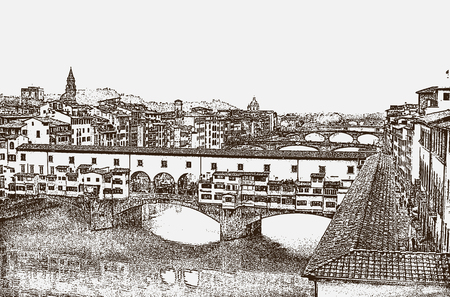 View of the famous Ponte Vecchio bridge over the Arno River in the city of Florence, Tuscany, Italy  イラスト・ベクター素材