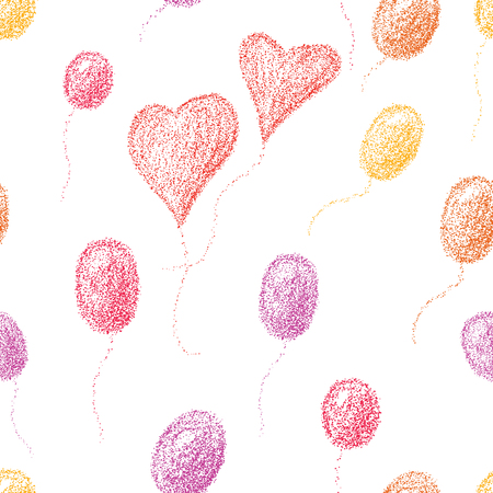 Seamless background of air balls and hearts