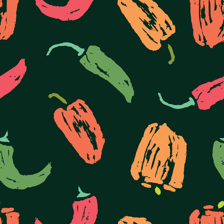 Seamless background of various peppers sketches Banque d'images - 117033391