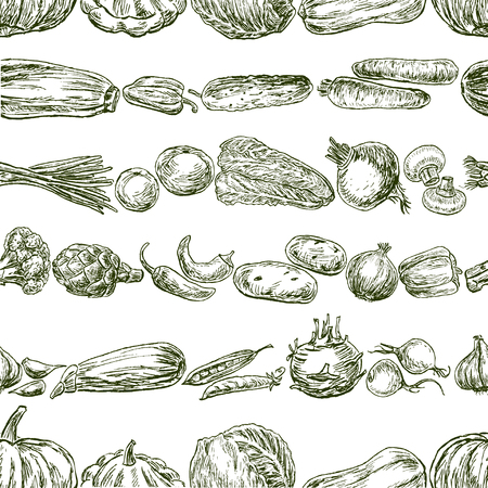 Seamless background of various vegetables sketches Banque d'images - 117010030