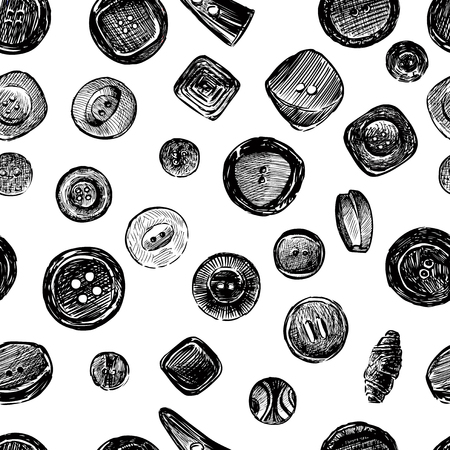 Seamless pattern of sketches of various buttons Çizim